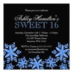 Sparkle Snowflakes Blue and Black Sweet 16 Winter Wonderland Invitations