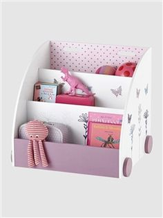 Mobile Library with Flower & Butterfly Motifs White / pink / flowers Girls Bedroom Furniture, Baby Bedroom, Baby Room Decor, Kids Bookcase, Bookshelves, Wooden Toy Boxes, Kid Toy Storage, Kids Decor, Home Decor