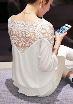 design of blouse White Patchwork Lace Embroidery Three Quarter Length Sleeve Fashion Blouse Couture Mode, Couture Fashion, Hijab Fashion, Fashion Dresses, Fashion Blouses, Embroidery Fashion, Embroidery Dress, Blouse Styles, Blouse Designs