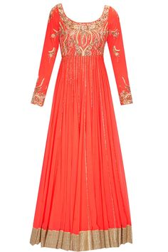Coral peach embroidered anarkali gown set available only at Pernia's Pop Up Shop.#perniaspopupshop #shopnow #newcollection #festive #clothing #designer #ohailakhan