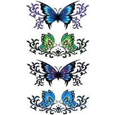 Oottati Small Cute Temporary Tattoo Butterfly (2 Sheets) >>> More info could be found at the image url. (This is an affiliate link) #TemporaryTattoos