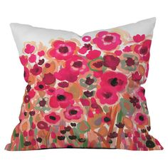 Multicolor Euro sham with a paint-style floral motif by artist Natasha Wescoast. Made in the USA.  Product: Euro sham