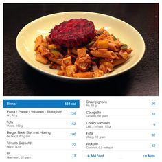 Honey-Beetroot Burger with Tofu and Penne