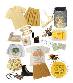 """Bees?"" by phonetheskeleton ❤ liked on Polyvore featuring MANGO, Steven Alan, H&M, WithChic, Dr. Martens, La Perla and Levi's Made & Crafted"