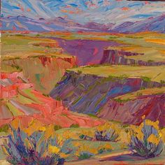 "Chamisa & Melon Cliffs at the Gorge, 16x16 by Michelle Chrisman Oil ~ 16"" x 16"""