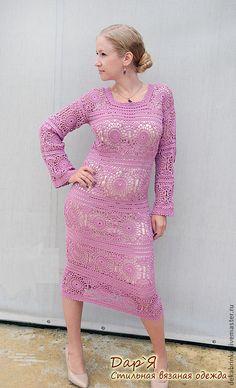 """Купить Вязаное платье """"Полина"""" - платье, вязаное платье, платье крючком, платье из мотивов"""