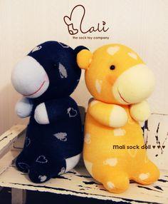 Mali Sock Doll, Sock Hippo, Sweet Heart Little Shortie (Yellow). $37.95, via Etsy.