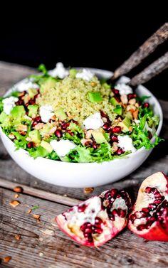 Couscous Spring Salad With Avocado, Pomegranate, and Honey-Sesame Dressing // // andathousandwords.com
