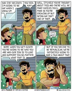 Husbands Bryan and Simon Steel are the creators of cute cartoon strip AJ & Magnus, all about the adventures of a gay parent family Gay Comics, Cute Comics, Funny Comics, Cute Gay Stories, Hello Memes, Jokes Pics, Faith In Humanity, Funny Games, Dads