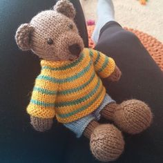 And he has clothes! #knittedstuffie #knittersofinstagram #knitting #knittersofig #littlecottonrabbits #juliewilliams #teddybear