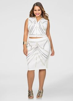 ad12a4f0f50 Stud Front Scuba Skirt-Plus Size Skirt Sets-Ashley Stewart
