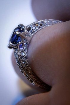 Has he popped the question with a sapphire ring?  Why yes he did!  Mine is Sapphire and Dimonds in white gold!