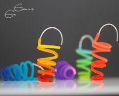 funky coil spring earrings by Eva Ehmeier, via Flickr
