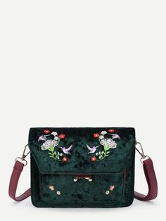 31da4cfa6e Flower & Bird Embroidered Velvet Crossbody Bag Glitter Clutch Chain Bag  With Pom Pom