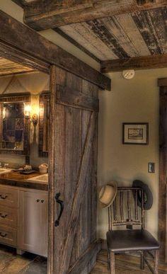 Rustic bathroom with Barndoor