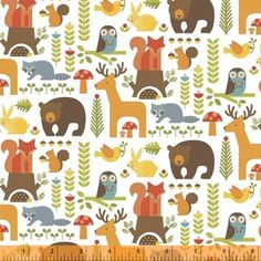 Manufacturer: Windham  Designer: Petit Collage Collection: Forest Parade Print Name: Forest Friends in Multi