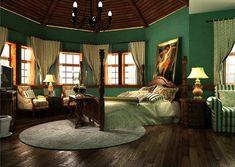 Dark Green Bedroom: Dark Green Wallpaper To Vintage British Living Room