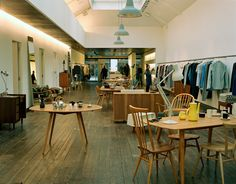 The Margaret Howell flagship store, on Wigmore Street in London, carries her men's and women's collections, old and new ceramics, Anglepoise lighting and vintage furniture by the midcentury British company Ercol.