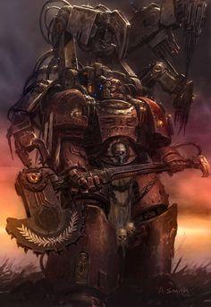 Colored up a Techmarine of the Blood Angels. Original artist is Adrian Smith. © Games Workshop Ltd. Warhammer Fantasy, Warhammer 40k Rpg, Space Marine, Martial, Sci Fi Fantasy, Sci Fi Art, Illustrations, Fantasy Characters, Marines