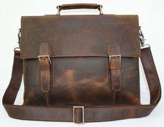 15'' Genuine Leather Briefcase/ Messenger Bag/ Laptop Bag/ Macbook Bag/ Shoulder Bag/ Men's Bag/ Crossbody Bag in Vintage Dark Brown 7035