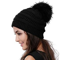 Chic Womens Winter Knit Beanie Hat Slouchy Skull Cap Real Fur Pom Pom Hats  Cap For 119ad79d6c9b