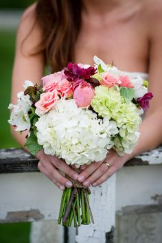 Romantic Mix of #Bouquet Colors | On SMP: http://www.StyleMePretty.com/new-england-weddings/2014/02/05/vintage-rustic-wedding-ideas/ Tricia McCormack Photography