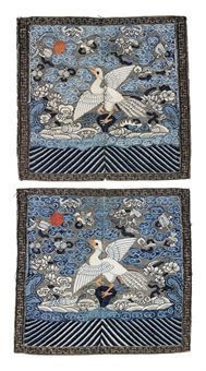 A pair (frontside and backside) of Court Insignia Badges (Buzi) for a Civil Official of the 5th Rank (Silver Pheasant), Qing dynasty, 19th century.  These insignia badges are woven with the silver pheasant against a silver ground.  Photo: Christie's Images Ltd., 2010.