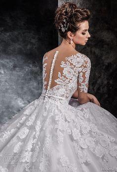 ira koval 2017 bridal half sleeves deep v heavily embellished bodice romantic elegant a line wedding dress sheer button back chapel train (613) zbv -- Ira Koval 2017 Wedding Dresses