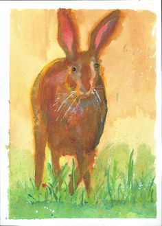 Hare - ink painting with bodycolour, A4 watercolour paper