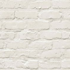 Painted White Brick is an on-trend contemporary wallpaper that features a realistic looking and feeling white brick wall. The soft natural colour will bring a sense of airiness to your room, while the modern design makes this wallpaper perfect for either a statement feature wall or across all four walls. Painted Brick Backsplash, Painted Brick Walls, White Brick Walls, Brick And Wood, Brick And Stone, White Bricks, White Stone, Brick Wallpaper B&q, Feature Wallpaper