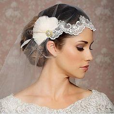 1 strato Bordo tagliato Veli da sposa Accessori per capelli con velo Con  Organza 6fac5e21e67