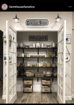 My Pantry GOALS! I love this farmhouse pantry with double doors! I have serious pantry envy going on! simple home diy Farmhouse Kitchen Ideas For a Country Kitchen Remodel on a Budget (PICTURES for Home Decor Kitchen, Farmhouse Pantry, Diy Kitchen Remodel, Country Kitchen Farmhouse, Kitchen Remodel, Kitchen On A Budget, Kitchen, Kitchen Pantry Design, Kitchen Renovation
