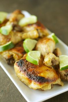 Crockpot Coconut Lime Chicken: ?3 lbs chicken (bone-in. skin-on. I mixed thighs and drumsticks) ?13.5 oz can coconut milk or lite coconut milk ?? c pineapple juice ?2 T lime juice ?? tsp salt ?? tsp garlic powder ?? tsp ground ginger ?? tsp curry powder ?? tsp red pepper flakes