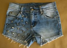 Upcycled High Waisted Studded Denim Shorts by TwiceLux on Etsy, $32.00