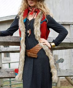 Look at this Tasha Polizzi Red Geometric Faux Fur-Trim Long Vest on #zulily today!
