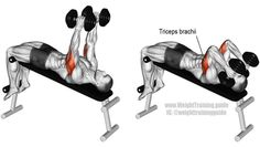 Decline dumbbell triceps extension exercise