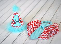 Boys Birthday Party Hat, Diaper Cover and Tie - Perfect for First Birthday, Smash Cake Pics, Photo Prop - Seuss Cat in the Hat.  Red Chevron Cake Smash Outfit.  Red Aqua Cake Smash Outfit.  Seuss Cake Smash Outfit.