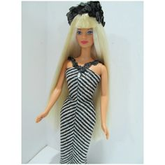 Mattel Dolls, Vintage Barbie Dolls, Barbie Convention, Full Bangs, Black Lashes, Long Lights, Black Glitter, Pink Lips, Striped Dress