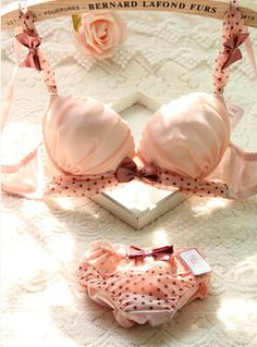 Four color for choosing chiffon bow lovely Japanese sweet deep V sexy bra sets bra lady spring / autumn dress | Sexy Japanese Lingerie
