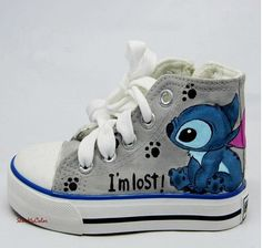 Stitch Custom Canvas, Lilo and Stitch hand painted high top shoes.