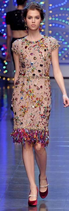 Dolce & Gabbana rhinestone holiday dress 2015 beauty and fashion color trends follow:JennieGirlStyle