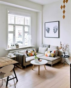 Small living room with dining area set up - tips from fre .- Kleines Wohnzimmer mit Essbereich einrichten – Tipps der Freshideen-Redaktion small living room with dining area set up scandi style - Living Room Images, Room Design, Small Living Room Decor, Small Living Room Design, Apartment Decor, Small Apartment Decorating, Tiny Living Rooms, Small Room Design, Room Interior