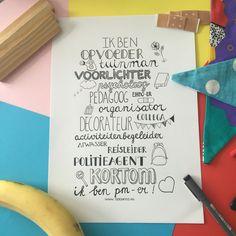 Handlettering in thema. Voor pedagogisch medewerkers ❤️ Getekend door Trudy van Iwaarden voor www.doenkids.nl