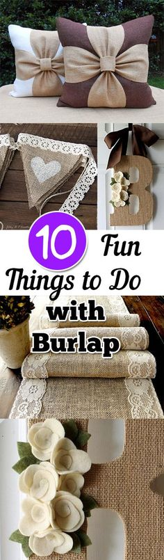Sewing Crafts 10 Fun things to make with burlap- great ways to use up your scrap fabric and get crafty! - 10 Fun things to make with burlap- great ways to use up your scrap fabric and get crafty! Burlap Projects, Burlap Crafts, Craft Projects, Sewing Projects, Burlap Wreaths, Burlap Flowers, Decor Crafts, Sewing Ideas, Burlap Decorations