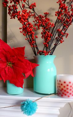 Christmas-turquoise vase with red berries