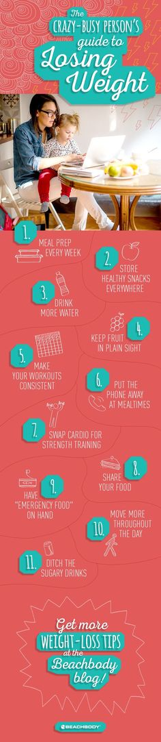 Read on for 11 easy tips for losing weight on a busy schedule!  // losing weight // fitness // exercise // nutrition // diet // Beachbody // BeachbodyBlog.com
