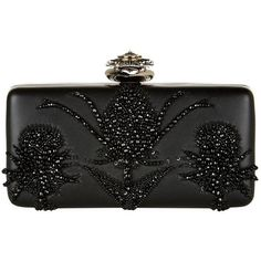 Alexander McQueen Heart Frame Embroidered Clutch (7.270 BRL) ❤ liked on Polyvore featuring bags, handbags, clutches, beaded clutches, beaded evening purse, alexander mcqueen handbags, embroidered purse and beaded handbag