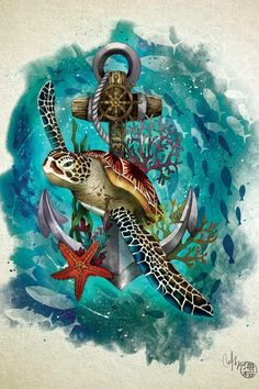 Sea Tattoo, Ocean Tattoos, Sea Turtle Tattoos, Sea Turtle Painting, Sea Turtle Art, Turtle Tattoo Designs, Underwater Painting, Desenho Tattoo, Animal Posters