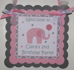 Little Peanut Elephant Door Sign Pink & Grey by ThePartyPaperFairy, $15.00