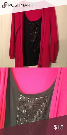 Classy one piece red and black sparkle top Classy red and black sparkle top. One piece. Size small AGB Tops